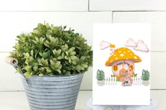 Spring Garden Gnome Colorful Mushroom Homes PNG Designs Product Image 6