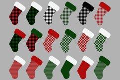 Christmas Stocking Buffalo Check Clip Art Product Image 2