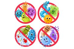 Bacterial protection. Germs in ged round prohibition signs, Product Image 1