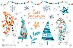 Cute Xmas naive Snowman Christmas watercolor nursery clipart Product Image 2