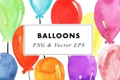 Watercolor Balloons Party Illustrations Clip Art PNG & EPS Product Image 1
