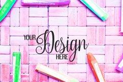 Crayons on rattan background | Flat photo mock up bundle Product Image 3