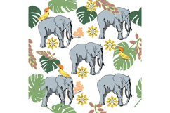 Vector seamless pattern with elephants in the jungle. Product Image 1