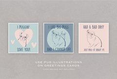 Pug Illustrations - Editable Humorous Funny Vector Pugs Product Image 4
