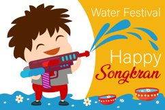 Happy Songkran Water Festival Illustration Product Image 1