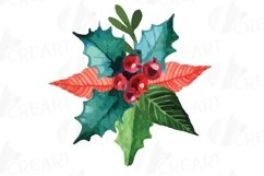 Christmas wreath Clip art, Holiday wreath, watercolor pine wood and berry fruits, leaves and gingerbread man, Watercolor Wreath Product Image 12