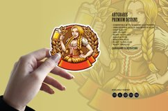 Beautiful Beer Girl Mascot Badge SVG Illustrations Product Image 2