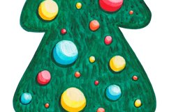 Christmas tree clipart Watercolor Pine tree with decorations Product Image 3
