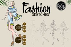 Hand drawn Fashion Sketches. Trendy look girls Product Image 1
