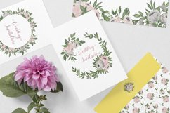 Gray and Pink Blooming. Watercolour clipart collection. Product Image 2