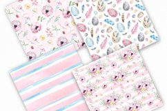 Watercolor Spring Easter Digital Paper, Seamless Pattern Product Image 4