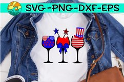 Red White Blue - Wine Glasses - SVG PNG EPS DXF Product Image 2