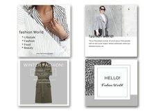 Fashion Social Media Pack, Social Media Bundle, 20 Square Social Media Templates, Instagram Template Pack, Social Media Graphics Pack Product Image 3