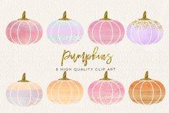 WATERCOLOR pumpkin clip art, Orange Pumpkin digital clipart, Pink Pumpkin clipart, Fall Pumpkin digital clip art, Watercolor Pastel Pumpkins Product Image 3
