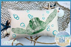 Sea Turtle Mandala Swimming with Bubbles SVG Product Image 6