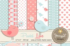 Pastel Valentine's Day Digital papers, Valentine Hearts,  Baby Baptism, Love Birds Clipart, Scrapbooking Paper Product Image 1