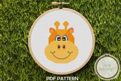 Cartoon Giraffe Face Cross Stitch Pattern - Instant Download Product Image 1