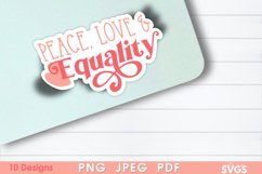 Women Equality Sticker Bundle | PNG Printable Sticker Pack Product Image 3