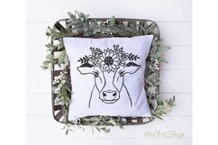 Cow With Crown SVG, Cow Flowers SVG, Cow face SVG Product Image 3