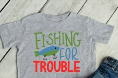 Fishing for trouble SVG, baby and boys cut file Product Image 2