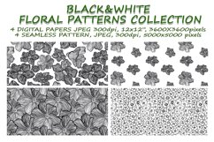 Black&White floral seamless pattern collection, 4 patterns Product Image 1