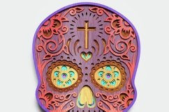 Multilayer Sugar Skull Mandala - S1, for cutting machines Product Image 6
