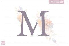 MONOGRAM Letter M Elegant Floral Monogram - Flower alphabet Product Image 1