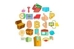 Cash icons set, cartoon style Product Image 1