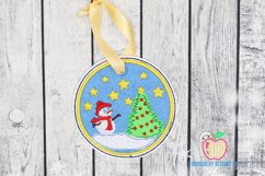 Snowman with Christmas Tree Ornament Embroidery Product Image 1