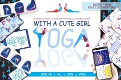 Yoga with girl - set of illustrations with asana Product Image 1