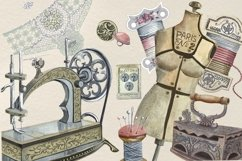 Sewing kit, Watercolor clipart Product Image 5