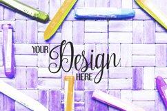 Crayons on rattan background | Flat photo mock up bundle Product Image 6