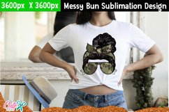 Messy bun with camo- Mother's day sublimation design Product Image 3