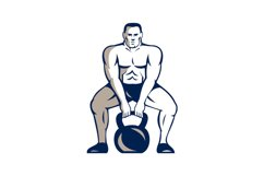 Athlete Weightlifter Lifting Kettlebell Retro Product Image 1