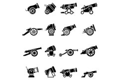 Cannon retro icons set, simple style Product Image 1