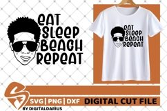 Eat Sleep Beach Repeat svg, Afro Boy svg, Glasses , Melanin Product Image 2