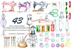 Sewing. Watercolor clipart Product Image 5