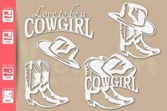 Cowgirl Logo with Hat and Boots - SVG - Set Product Image 1