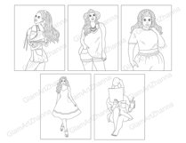 Coloring Book GIRLS for digital or print use 12 JPEG files Product Image 5