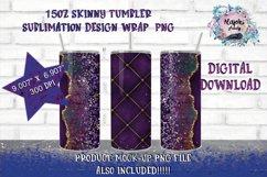 15oz Sublimation Purple Glitter  Skinny tumbler Design wrap Product Image 1