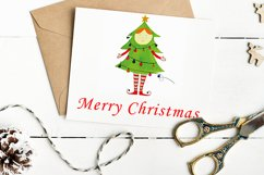 Watercolor Christmas elf with a Christmas tree Product Image 3