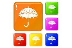 Opened umbrella icons set vector color Product Image 1