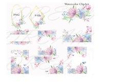 Blue Wedding floral frame border clipart Product Image 2