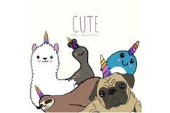 Cute Unicorn Animals Clipart Product Image 1