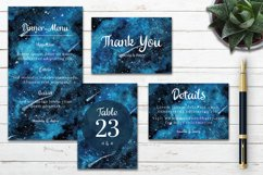 Abstract Blue Galaxy Space Watercolor Wedding Invitation Set Product Image 3