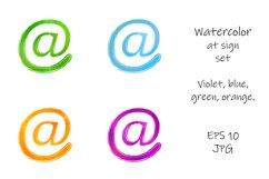 Watercolor at sign set. Violet, blue, green, orange. Product Image 1