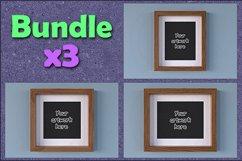 Mockup wood picture frame BUNDLEx3 Product Image 1