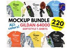 Gildan 64000 Mockup Bundle - Gildan Softstyle T-shirts Product Image 1