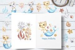 Watercolor Cat Mermaid clipart. Seashells marine clip art. Product Image 6