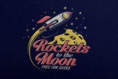 Rocket And Moon Retro Print Product Image 4